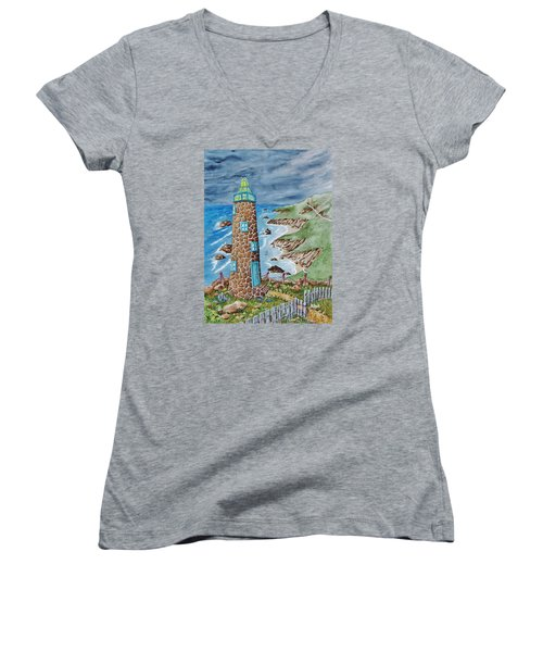 Lighthouse Women's V-Neck T-Shirt (Junior Cut) by Katherine Young-Beck
