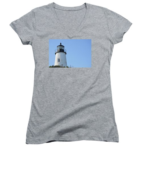Lighthouse On Clear Day Women's V-Neck