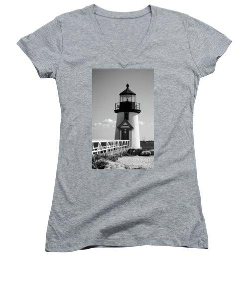 Lighthouse On Nantucket Bw Women's V-Neck