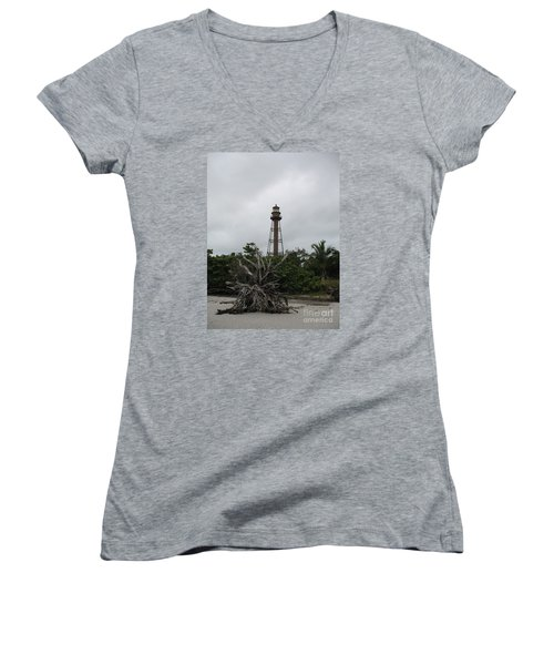 Women's V-Neck T-Shirt (Junior Cut) featuring the photograph Lighthouse On Sanibel Island by Christiane Schulze Art And Photography