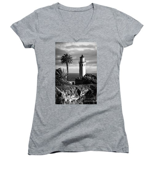 Women's V-Neck T-Shirt (Junior Cut) featuring the photograph Lighthouse On The Bluff by Jerry Cowart