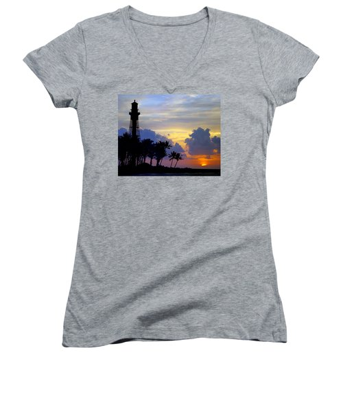 Lighthouse Point Sunrise 2 Women's V-Neck