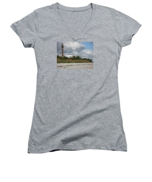 Women's V-Neck T-Shirt (Junior Cut) featuring the photograph Sanibel Island Light by Christiane Schulze Art And Photography