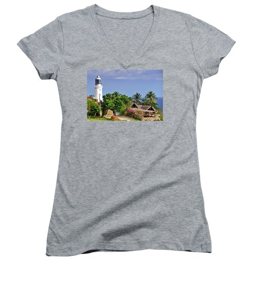 Lighthouse Santiago De Cuba Women's V-Neck T-Shirt (Junior Cut) by Lynn Bolt