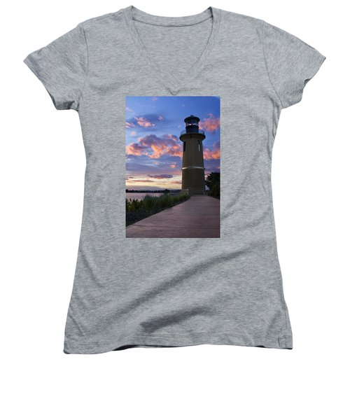 Women's V-Neck T-Shirt (Junior Cut) featuring the photograph Lighthouse by Sonya Lang