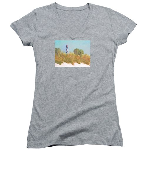Lighthouse View From St. Augustine Beach Women's V-Neck (Athletic Fit)
