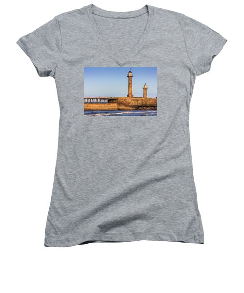 Lighthouses On The Piers Women's V-Neck