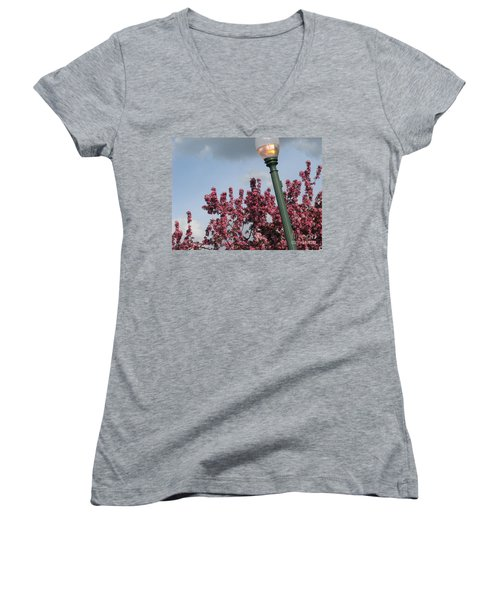 Women's V-Neck T-Shirt (Junior Cut) featuring the photograph Lighting Up The Day by Michael Krek