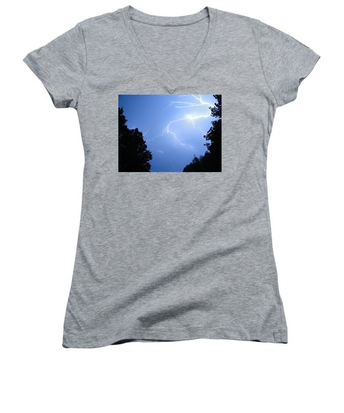 Lighting Up The Night Women's V-Neck T-Shirt (Junior Cut) by Tiffany Erdman
