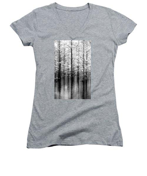 Lightning On The Wetlands Women's V-Neck T-Shirt (Junior Cut) by Faith Williams