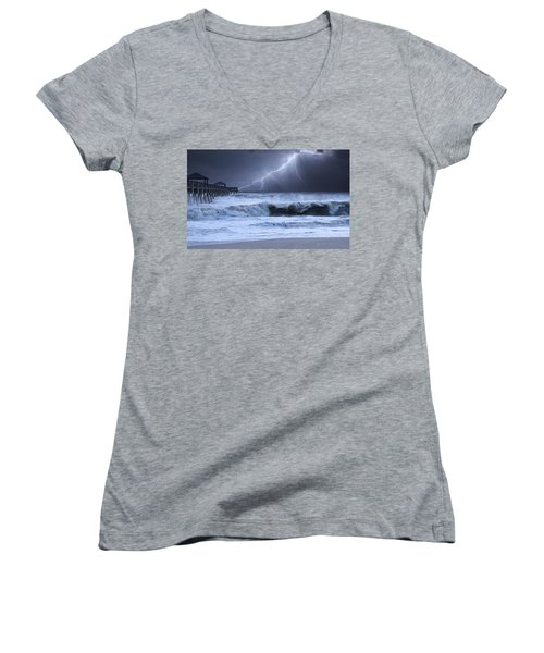 Lightning Strike Women's V-Neck T-Shirt