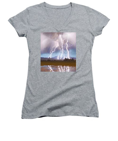 Lightning Striking Longs Peak Foothills 4c Women's V-Neck