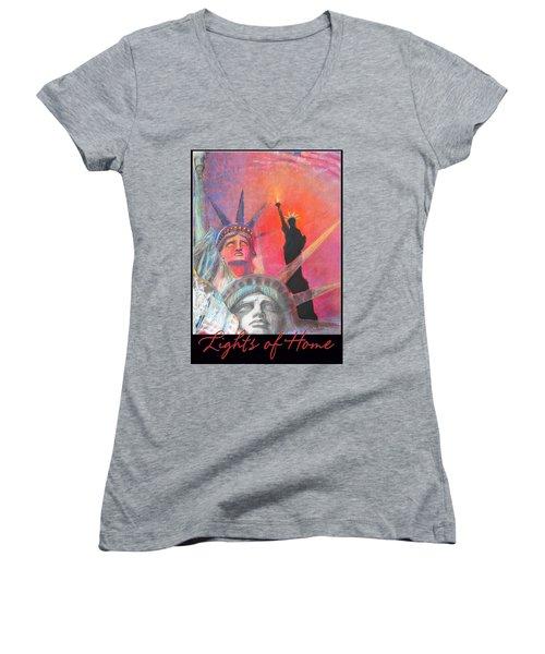 Lights Of Home Women's V-Neck T-Shirt (Junior Cut) by Brooks Garten Hauschild