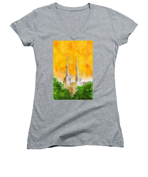 Women's V-Neck T-Shirt (Junior Cut) featuring the painting Like A Fire Is Burning by Greg Collins