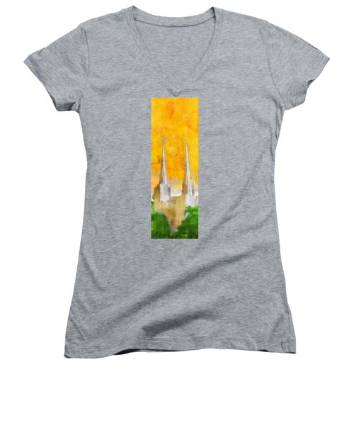Women's V-Neck T-Shirt (Junior Cut) featuring the painting Like A Fire Is Burning - Panoramic by Greg Collins