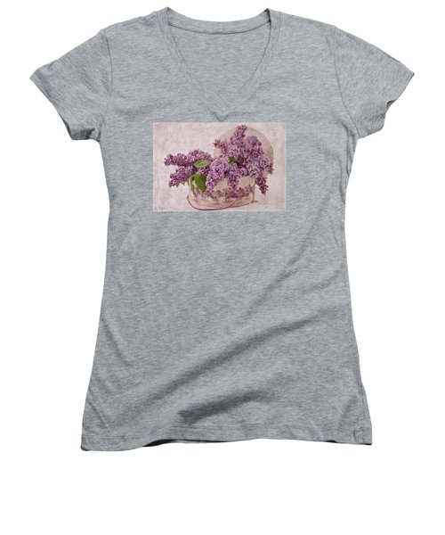 Women's V-Neck T-Shirt (Junior Cut) featuring the photograph Lilacs In The Box by Sandra Foster