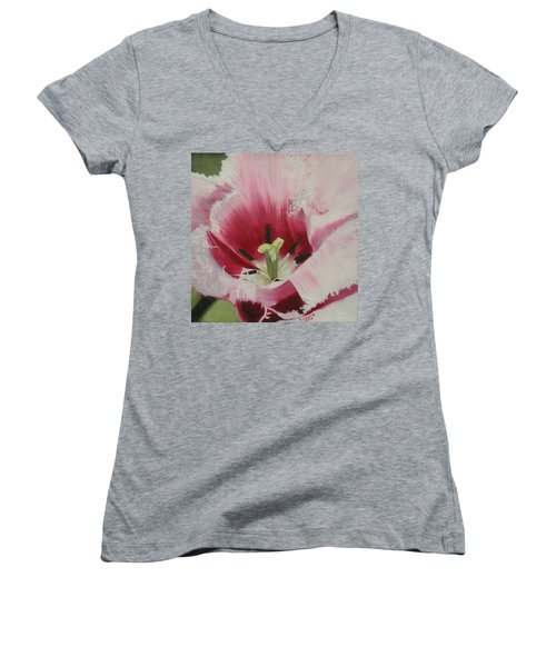 Lilicaea Tulipa Women's V-Neck T-Shirt (Junior Cut) by Claudia Goodell
