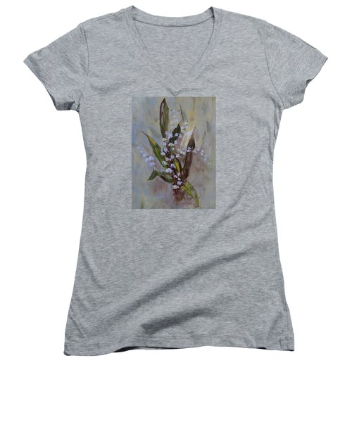 Lilies-of-the-valley Women's V-Neck (Athletic Fit)