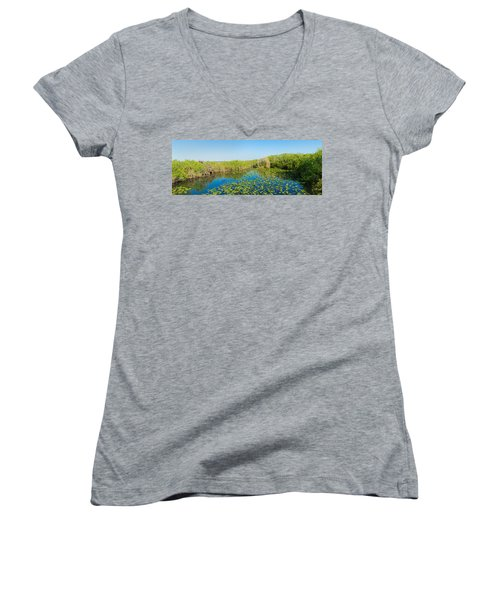 Lily Pads In The Lake, Anhinga Trail Women's V-Neck (Athletic Fit)