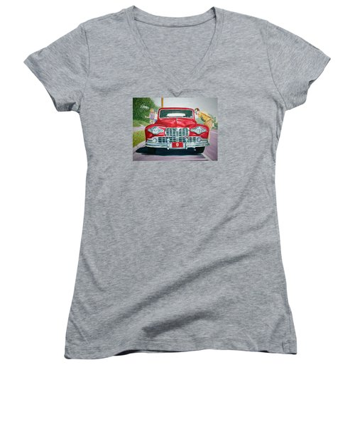 Women's V-Neck T-Shirt (Junior Cut) featuring the painting Lincoln In Red by Stacy C Bottoms
