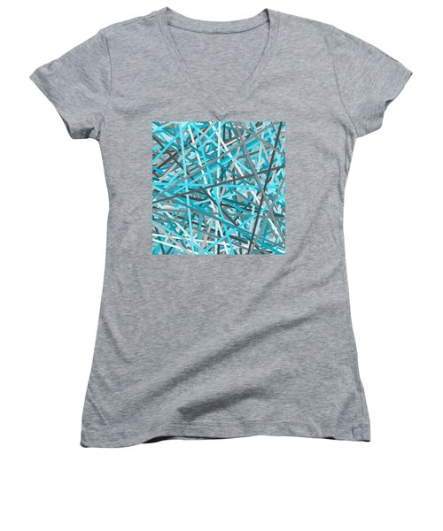 Link - Turquoise And Gray Abstract Women's V-Neck (Athletic Fit)