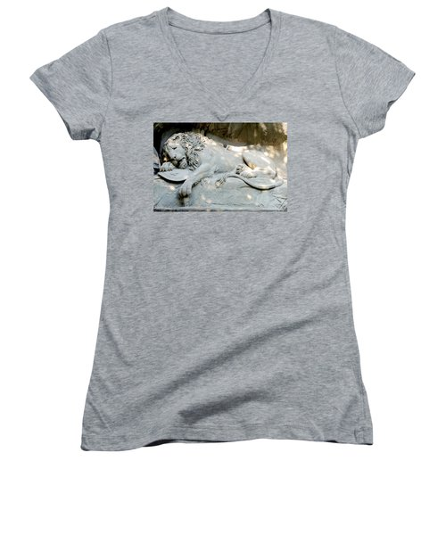 Lion Monument In Lucerne Switzerland Women's V-Neck (Athletic Fit)