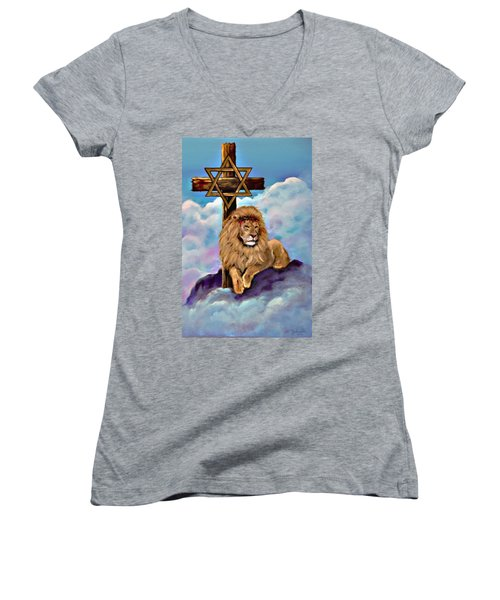 Women's V-Neck featuring the painting Lion Of Judah At The Cross by Bob and Nadine Johnston