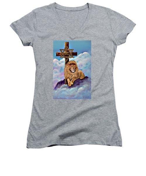Lion Of Judah At The Cross Women's V-Neck (Athletic Fit)