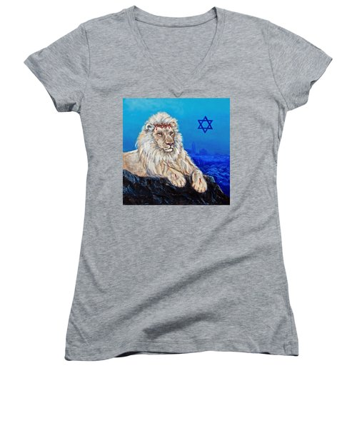 Women's V-Neck featuring the painting Lion Of Judah Before Jeruselum by Bob and Nadine Johnston