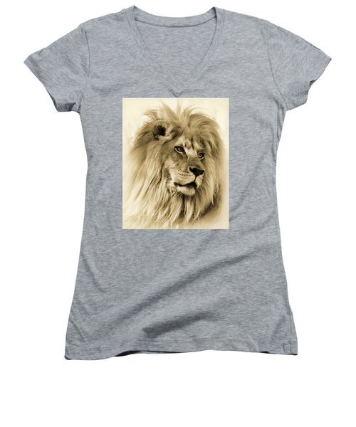 Lion Women's V-Neck T-Shirt (Junior Cut) by Swank Photography