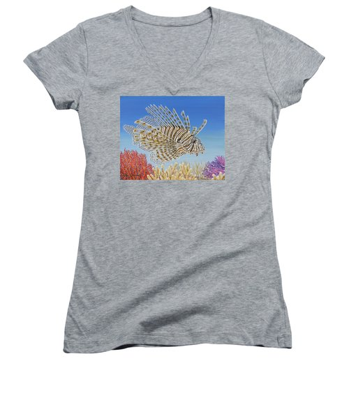 Women's V-Neck T-Shirt (Junior Cut) featuring the painting Lionfish And Coral by Jane Girardot
