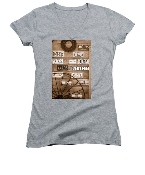 Liscensed Shed Wall Women's V-Neck T-Shirt (Junior Cut) by Holly Blunkall
