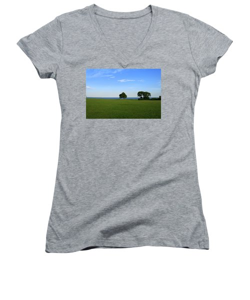 Women's V-Neck T-Shirt (Junior Cut) featuring the photograph Listening To The Breeze  by Neal Eslinger
