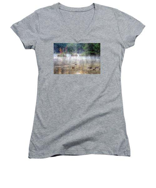 Women's V-Neck T-Shirt (Junior Cut) featuring the photograph Little Bit Of Fall by Charlotte Schafer