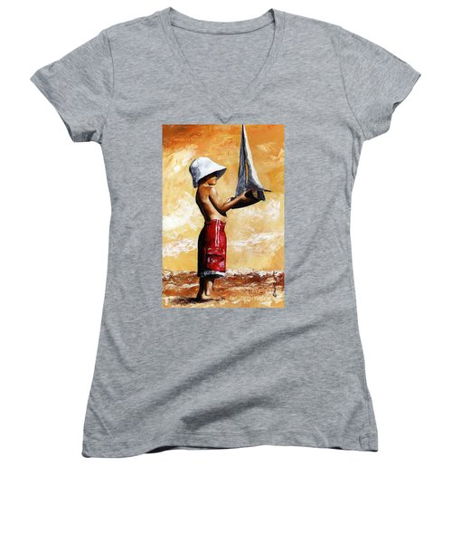 Little Boy In The Beach Women's V-Neck (Athletic Fit)