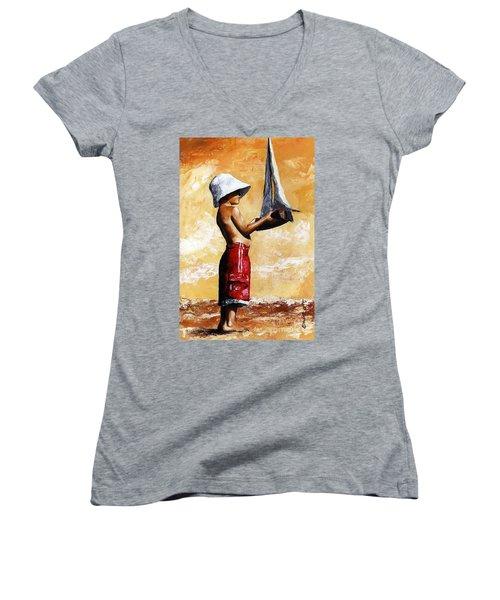 Little Boy In The Beach Women's V-Neck T-Shirt (Junior Cut) by Emerico Imre Toth