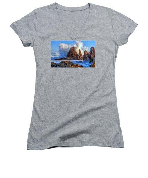 Little Corona Women's V-Neck T-Shirt (Junior Cut) by Michael Pickett