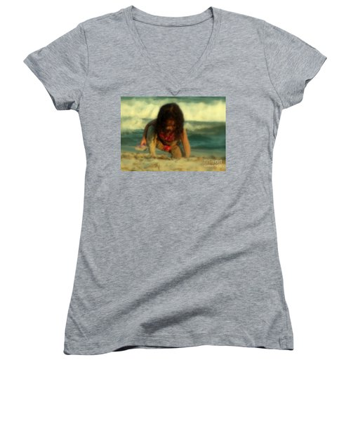 Women's V-Neck T-Shirt (Junior Cut) featuring the photograph Little Girl At The Beach by Lydia Holly