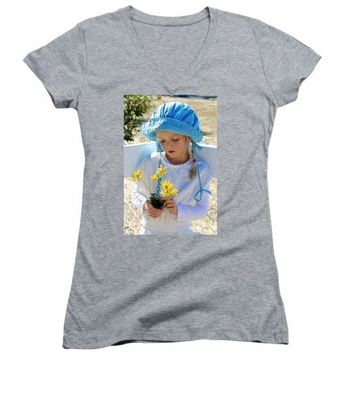 Little Girl Blue  Women's V-Neck T-Shirt (Junior Cut) by Suzanne Oesterling