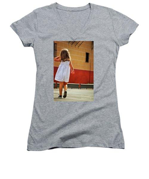 Little Girl In White Dress Women's V-Neck T-Shirt (Junior Cut) by Mary Machare