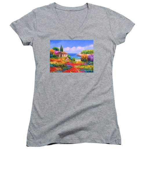 Little House By The Sea Women's V-Neck T-Shirt (Junior Cut) by Tim Gilliland