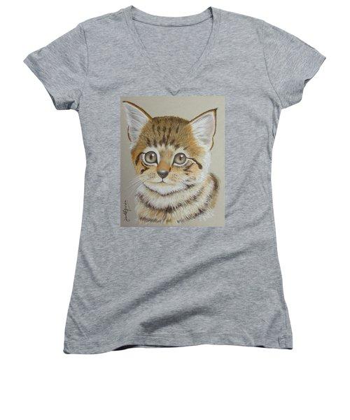 Little Kitty Women's V-Neck T-Shirt (Junior Cut) by Janet Garcia