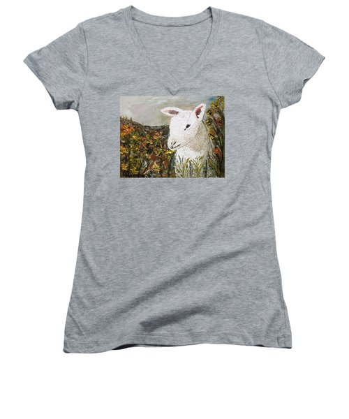 Little Lamb Women's V-Neck (Athletic Fit)