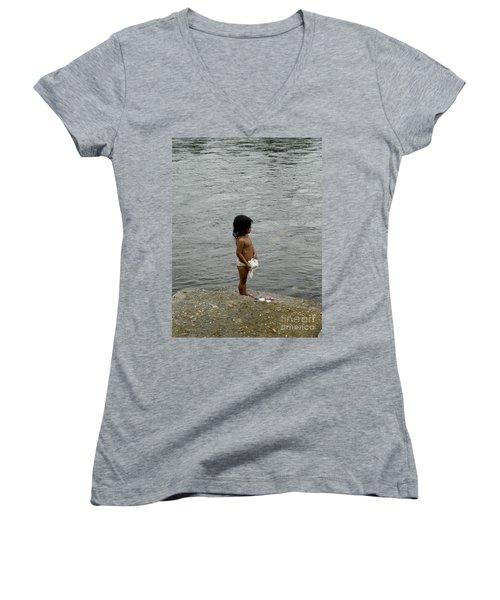 Little Laundress Women's V-Neck T-Shirt (Junior Cut) by Kathy McClure
