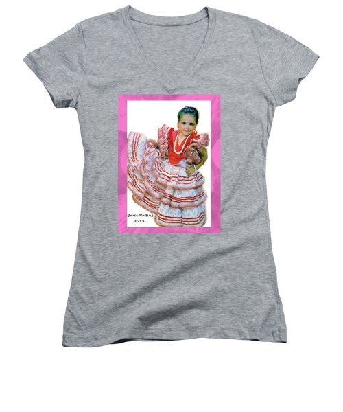 Women's V-Neck T-Shirt (Junior Cut) featuring the painting Little Lidia by Bruce Nutting