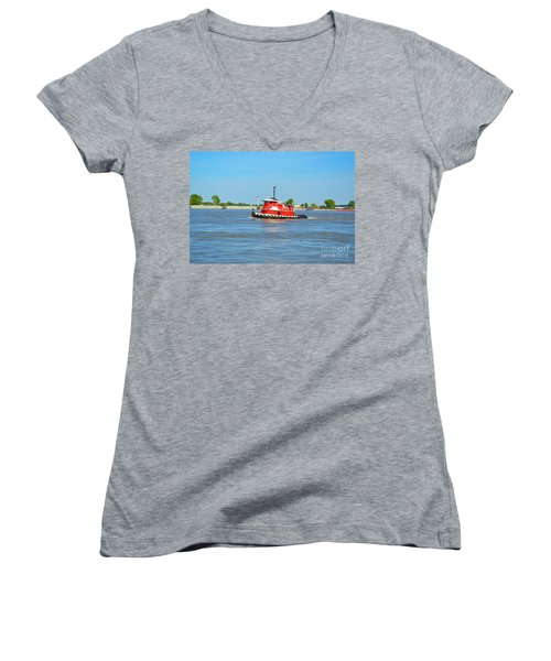 Little Red Boat On The Mighty Mississippi Women's V-Neck T-Shirt (Junior Cut) by Alys Caviness-Gober