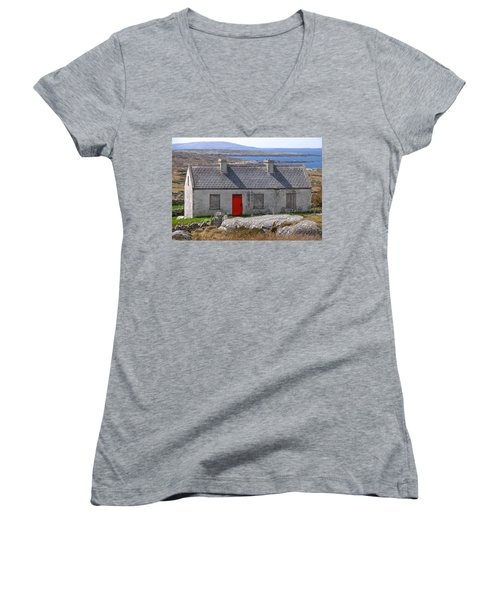 Women's V-Neck T-Shirt (Junior Cut) featuring the photograph Little Red Door II by Suzanne Oesterling