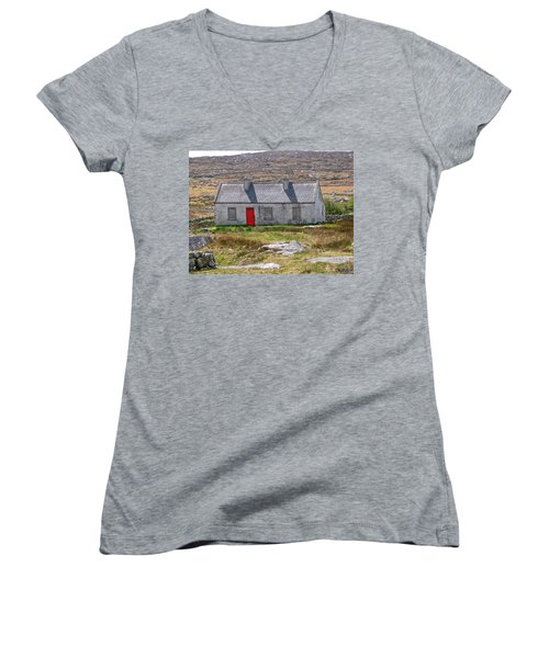 Women's V-Neck T-Shirt (Junior Cut) featuring the photograph Little Red Door by Suzanne Oesterling