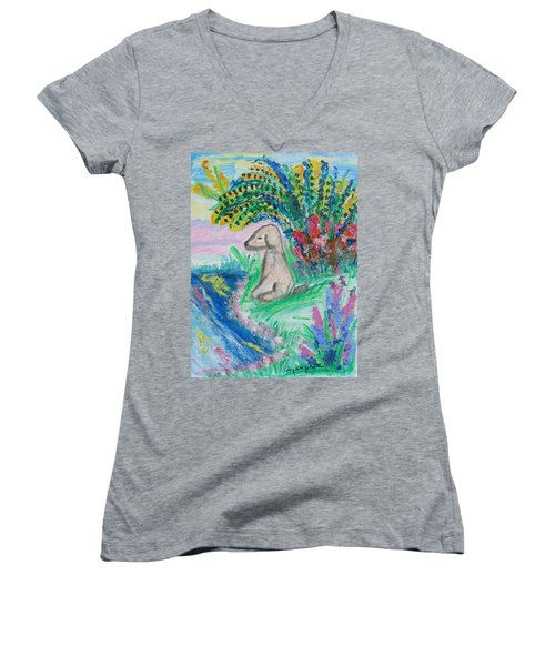 Women's V-Neck T-Shirt (Junior Cut) featuring the painting Little Sweet Pea by Diane Pape