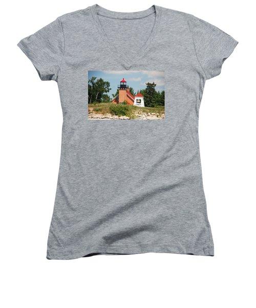 Little Traverse Lighthouse No.2 Women's V-Neck T-Shirt (Junior Cut) by Janice Adomeit